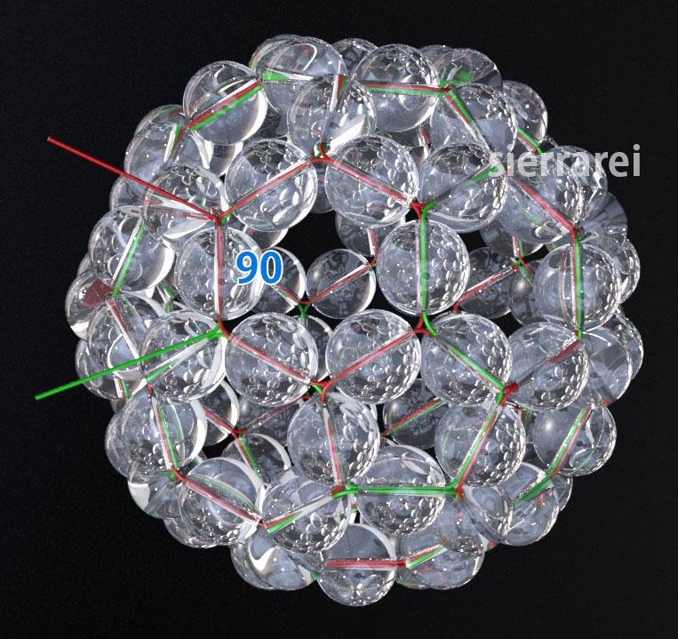 神聖幾何学 フラーレン バッキーボール 水晶ビーズ31